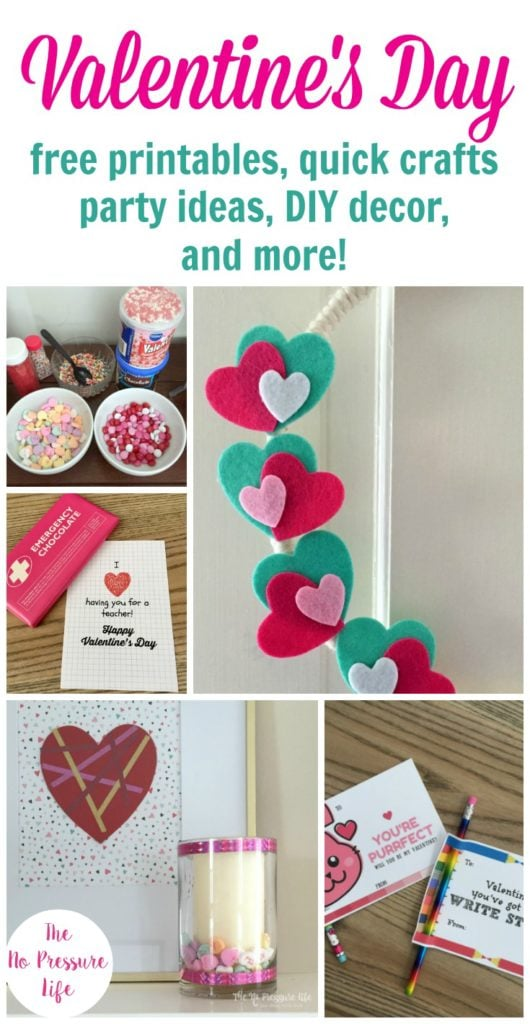 Easy Valentine's Day crafts and free printable cards, party ideas and more